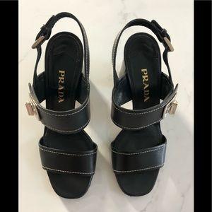 * Authentic Prada * strap sandal with block heel